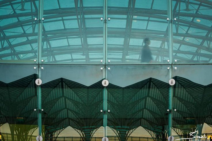Train station in Lisbon-Oriente. Glass reflection. Travel photography.