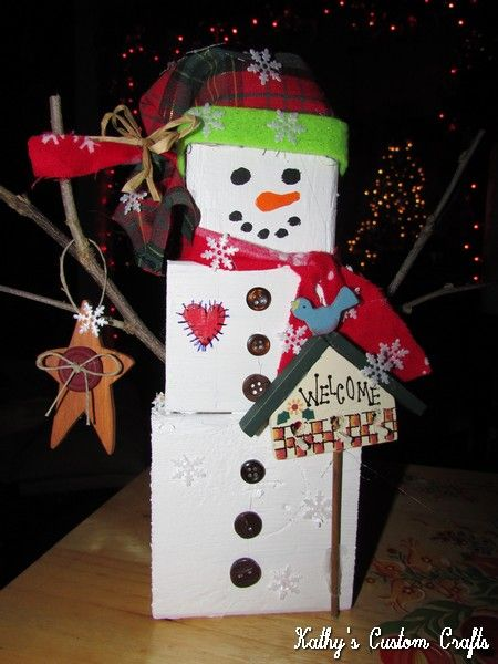 Wooden 2x4 Snowman Craft | Kathy's Custom Crafts ...