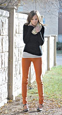 Orange pants + stripped shirt + sweater + scarf = perfect for Fall