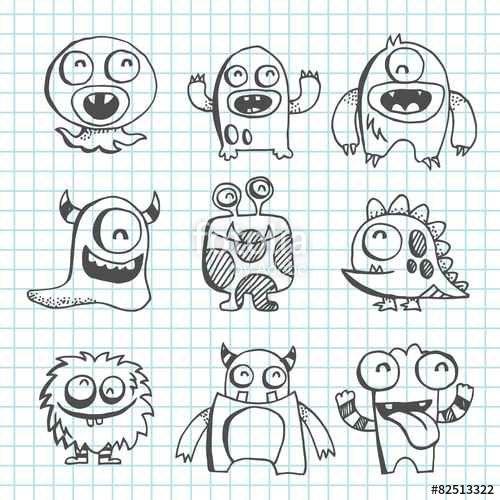 Vecteur : Monster Line Art Drawing