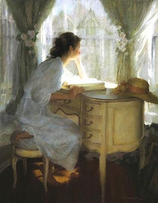 Dreaming over a book--this reminds me of Tatiana in 'Eugene Onegin'.