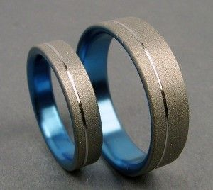 The Original Pinstripe Anium Ring Wedding Band Set In Pale Gunmetal Blue Setsmodern Mens