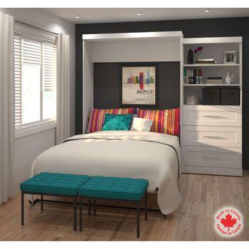 Bestar – Mobilier Boutique 2 pièces à grand lit escamotable blanc