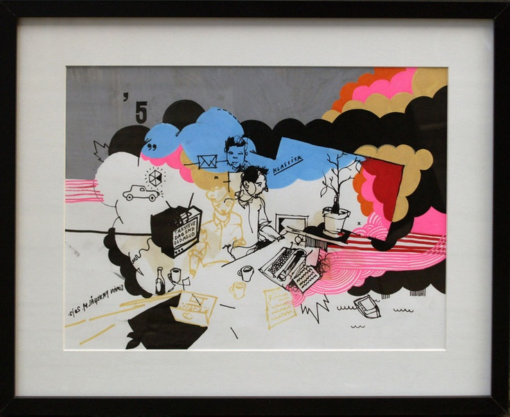"""Artist Simon Fensholm: """"Klassisk"""" (""""Classic""""), A3, markers and acrylics on paper."""
