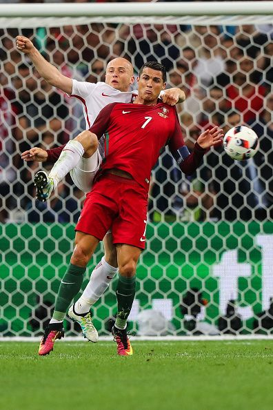 #EURO2016 Cristiano Ronaldo Michal Pazdan during the UEFA EURO 2016 quarter final match between Poland and Portugal at Stade Velodrome on June 30 2016 in...