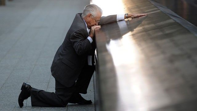 Voted the Number 1 most Powerful Image of 2011 - Robert Peraza, who lost his son Robert David Peraza in 9/11, pauses at his son's name at the North Pool of the 9/11 Memorial. Images are a powerful thing! @Cindy Zhang: September 11, New York Cities, 9 11 Memories, 911 Memories, World Trade Center, Twin Towers, 10 Years, Memories 11/9, Robert Peraza