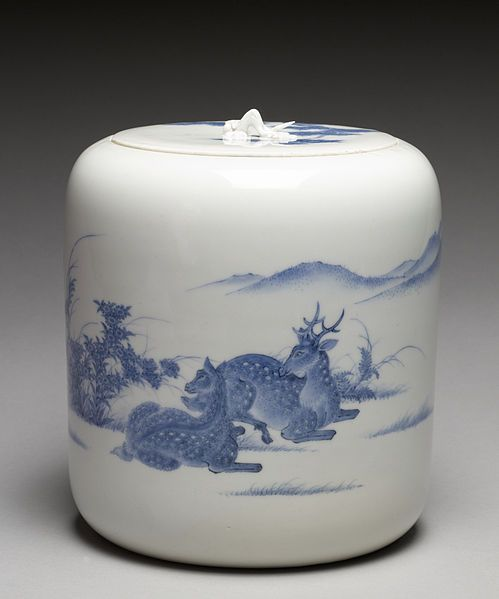 Imamura Rokuro (Japanese) - water jar for tea ceremony; Hirado ware.  Many westerners are aware of the lower quality Japanese porcelain that was made for export after Admiral Perry opened trade; Hirado porcelain, which was primarily made for domestic Japanese, rivals the very best historical Chinese porcelain.