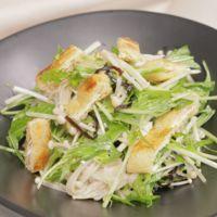 カリカリ油揚げといただく えのきと水菜のさっぱりサラダ