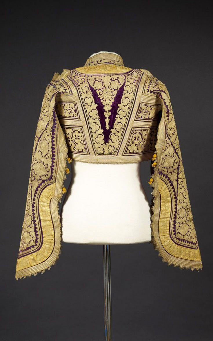 Tunisia   19th century blouse / jacket; purple velvet embroidered with gold silk thread