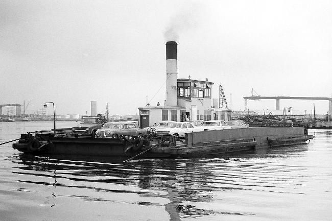 The Williamstown car ferry, which provided the only crossing of the Lower Yarra until the opening of the West Gate Bridge (under construction in the background).