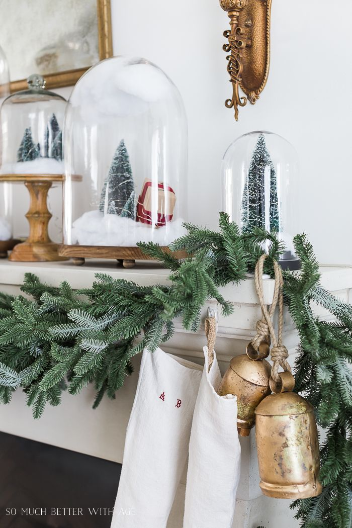 Christmas Mantel Decor with Snow Globe Cloches Christmas