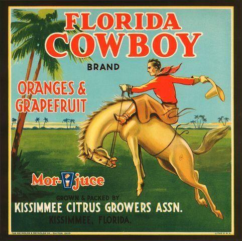Florida FL - Kissimmee Florida Cowboy Orange Crate Label Art Print