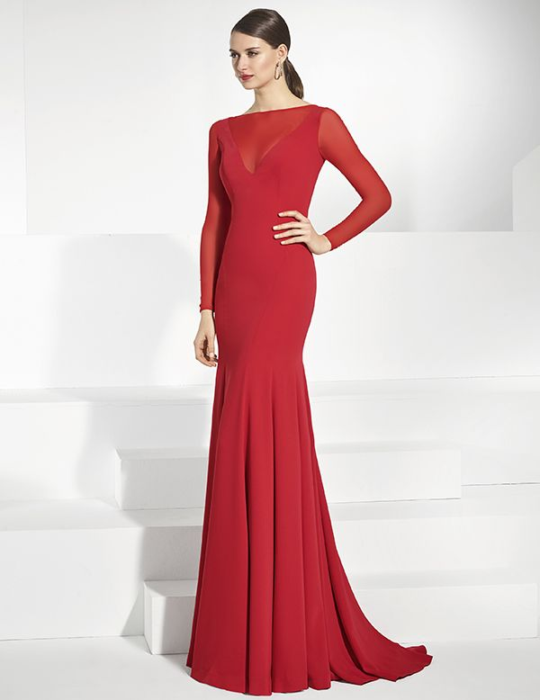 c68e61421 Vestidos de fiesta largo en crep rojo con escote en licra roja ...