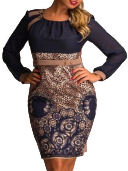Color Block Printed Celebrity Round Neck Plus Size Bodycon Dress