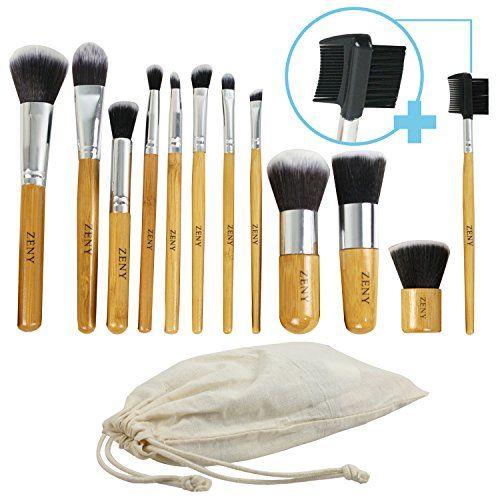 awesome Zeny Makeup Brush Set Professional 12 Piece Bamboo Handle Premium Synthetic Kabuki Foundation Blending Blush Concealer Eye Face Liquid Powder Cream Cosmetics Brushes Kit With Bag