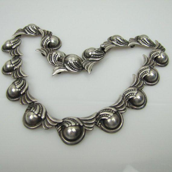 Margot De Taxco Sterling Silver Necklace No 5240. Art Deco Necklace Mexico…