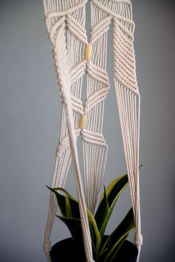 Suspensión de planta de venta Macrame nudos algodón blanco