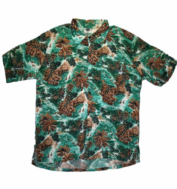 Vintage green palm tree print hawaiian shirt mens size for Lsu hawaiian print shirts