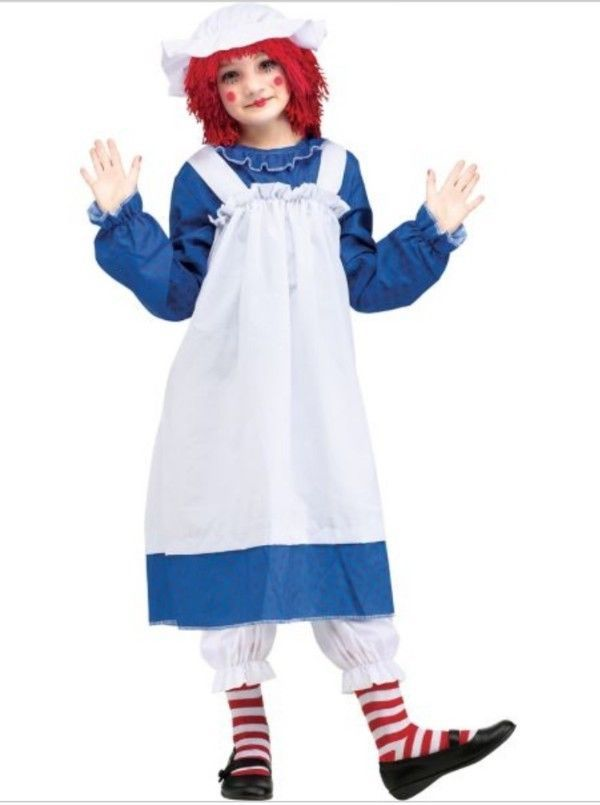 Raggedy Ann Child Halloween Costume Size Small (4-6)  Rag Doll blue Fun World  #FunWorld #CompleteOutfitWithouttheWig