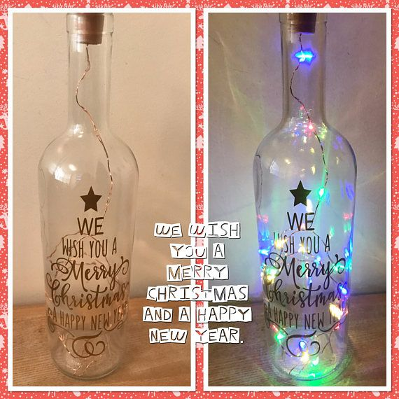 We Wish You A Merry Christmas And A Happy New Year Light Up Etsy Light Up Bottles Lighted Wine Bottles Bottle Gift Wrapping
