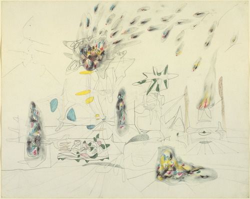 Fiery Landscape, Roberto Matta, 1940, crayon and pencil on paper, 18 1/8 x 22 1/2""