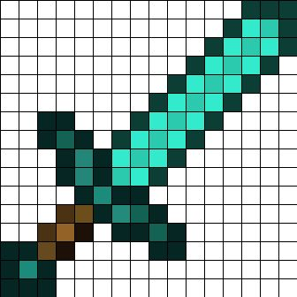 Minecraft Diamond Sword Perler Bead Pattern