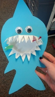 Shark Craft for Shark Week!  We cut out the template, used a folded, tooth cut shaped plate for teeth and some little cut out fish stuck in the teeth.