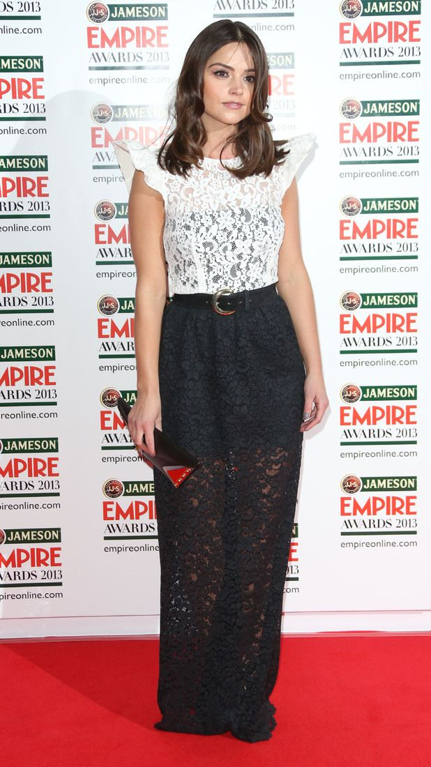 Doctor Who's Jenna-Louise Coleman looks pretty in black and white lace as she arrives at the Jameson Empire Awards 2013 in London.