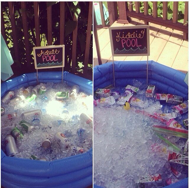 Kiddie pool and adult pool for summer parties