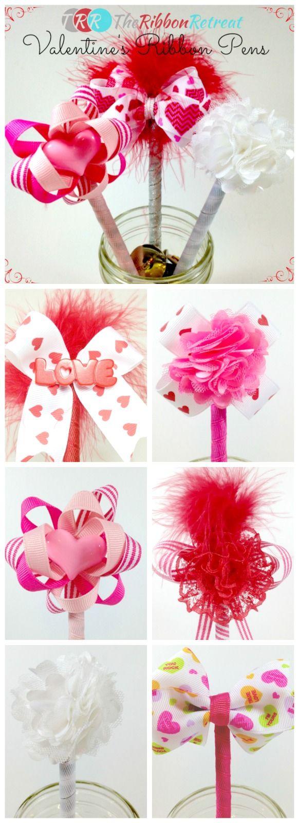 Valentine's Ribbon Pens - The Ribbon Retreat Blog