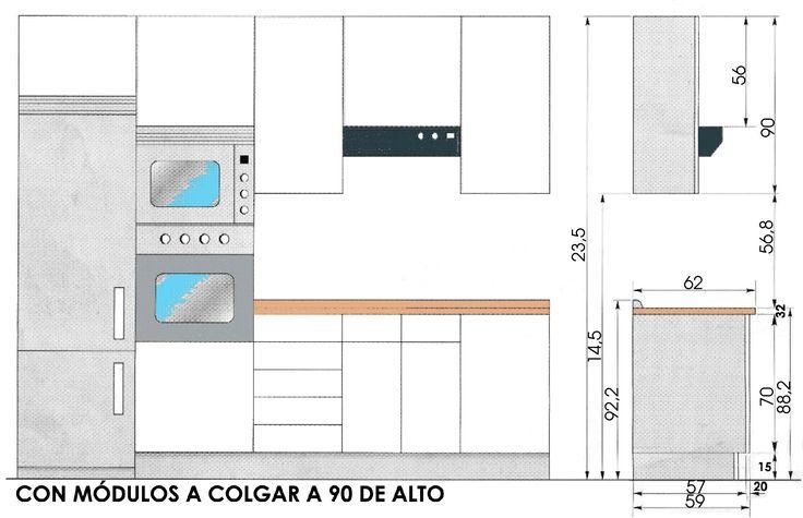 Resultado de imagen para dimensiones de un desayunador - Dimensiones muebles de cocina ...