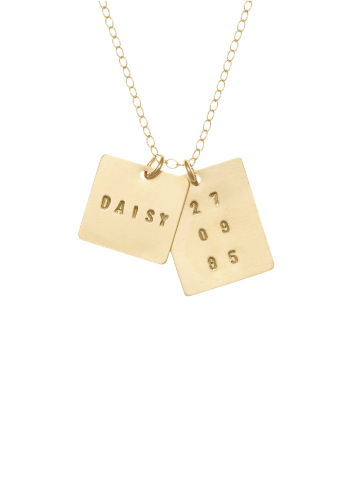 Personalized Intial and Date Tag Gold Necklace