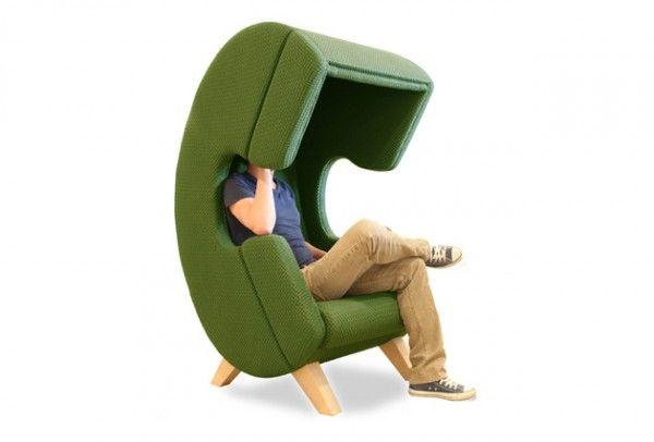 Zielony fotel w kształcie telefonu