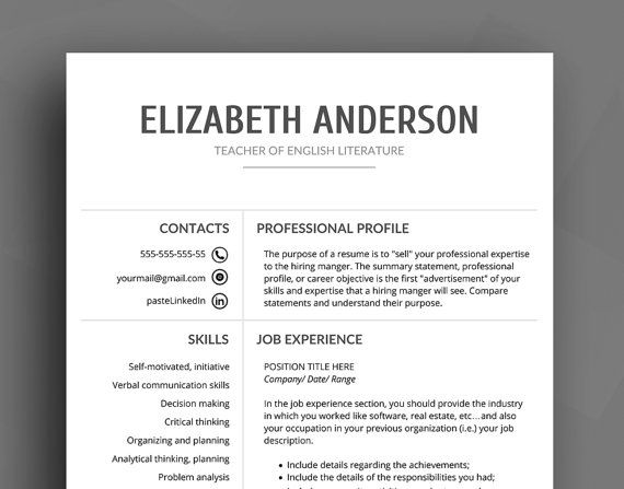 professional resume template cv template cover letter reference list creative resume clear resume word resume instant download - Words Resume Template