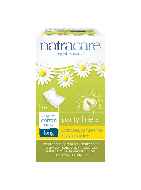 Natracare Long Panty Liners (Wrapped) - Feminine Care & Hygiene £1.65 This new organic and natural panty liner is made from certified organic cotton and renewable natural materials. Its advanced curved shape design is soft, absorbent and breathable. Conveniently wrapped in their own paper pockets this panty liner offers a discreet and practical solution for women wishing to carry their panty liners in their bags