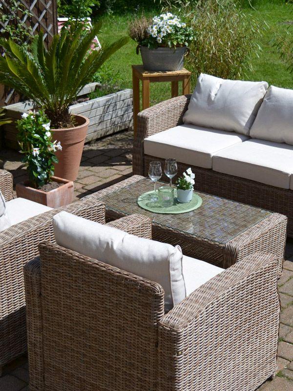 Lounge Gruppe Gotland Natur 3 Sitzer Sofa Plus 2 Sessel Und 1 Tisch Outdoor Dekorationen Lounge Gartenmobel 3 Sitzer Sofa