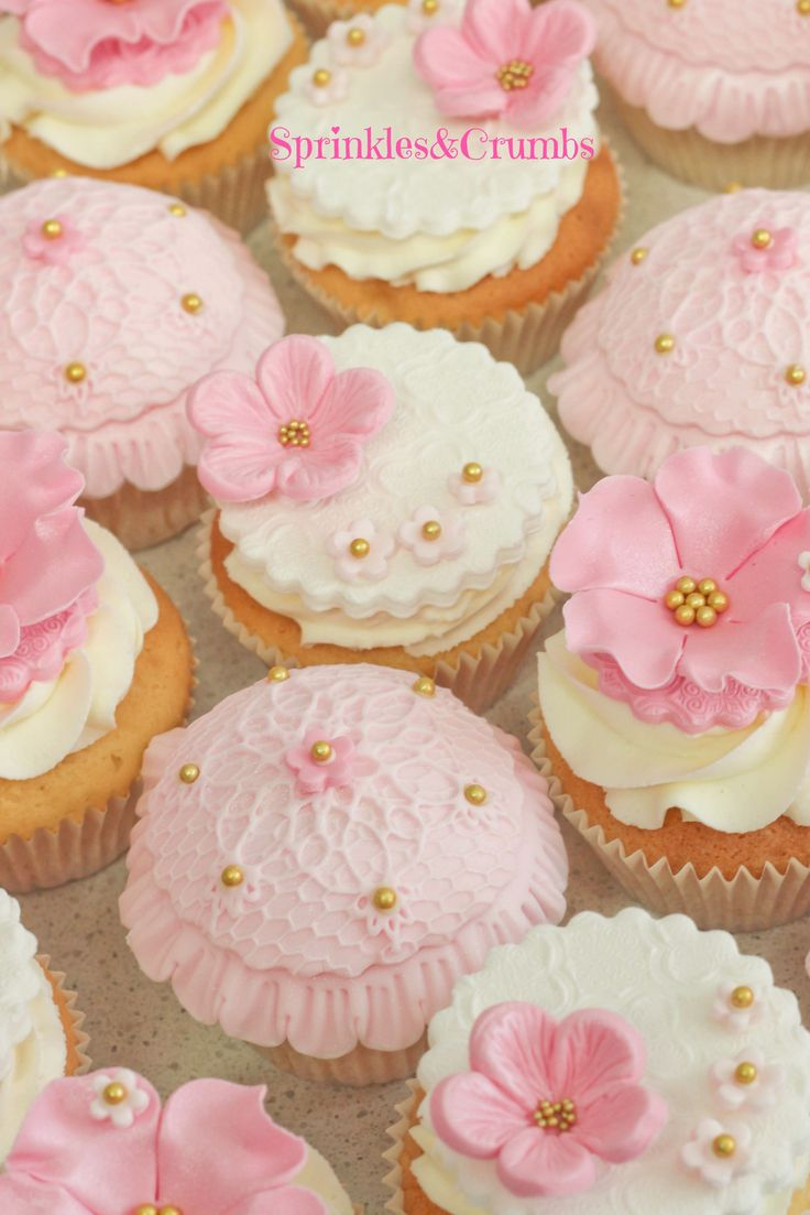 Edible cupcake decorations baby shower - Vintage Inspired Cupcakes For Girls