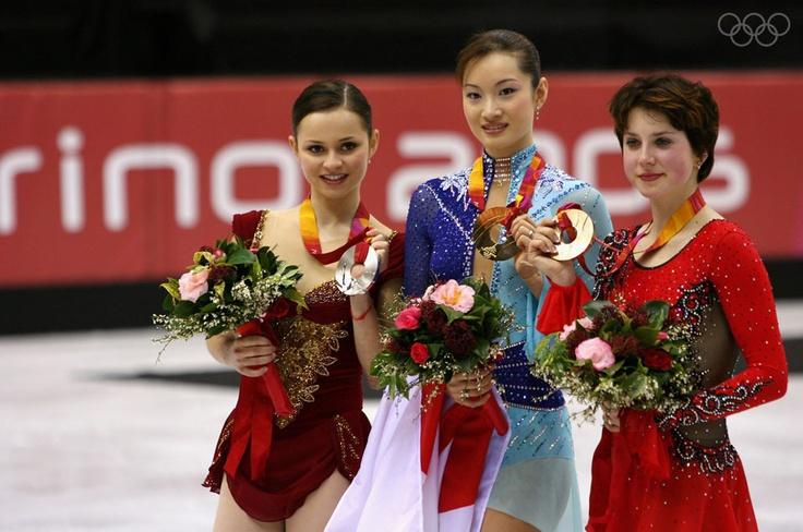 2006 Ladies' Olympic Podium: Sasha Cohen USA - silver Shizuka Arakawa Japan - gold Irina Slutskaya Russia - bronze