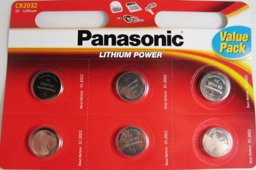 "Panasonic CR2032 Battery Lithium cr-2032 3V Coin Cell pack of 6 batteries""panasonic brand name batteries"" exp. date 2022 by Panasonic. $10.99. pack of six super fresh cr2032 batteries  panasonic brand name"