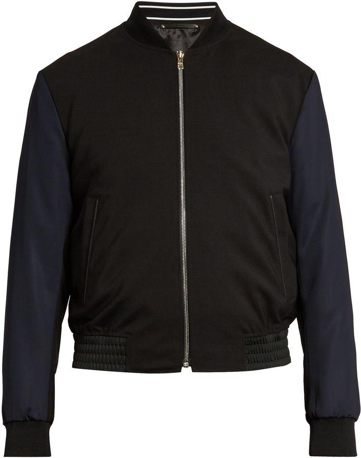 PAUL SMITH Contrast-sleeve wool-blend bomber jacket