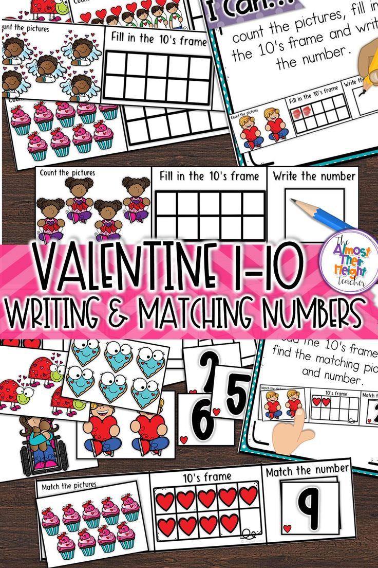 Valentine math center. Practice numbers to 10 with this cute Valentine themed math pack.  Students are: 1 to 1 counting, filling in and reading 10's frames, writing, reading and matching numbers.  #wintermath #tensframes #kindergartenmath #kindergarten #numbers #numbersto10 #valentine #valentinemath #mathcenters #february #februaryactivities #teacherspayteachers