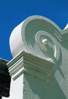 #CapeDutch Architecture Detail, Close up of a typical #gable curved stucco detail