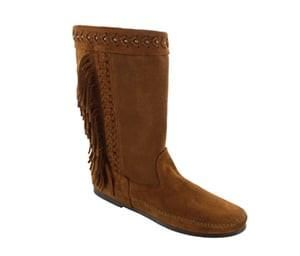 Leather braid and brass stud detail make this boot a must have Fringe accent lets you go cowboy chic or festival flowy