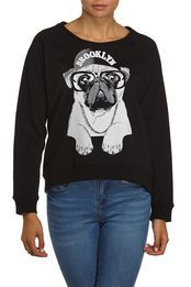 Brooklyn Pug Raglan Fleece, BLACK