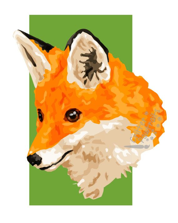 British Wildlife Fox Illustration Print Available in Multiple Sizes Critter Pawtraits