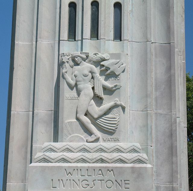 Relief sculpture on the William Livingstone Memorial Lighthouse on Belle Isle in Detroit, Michigan