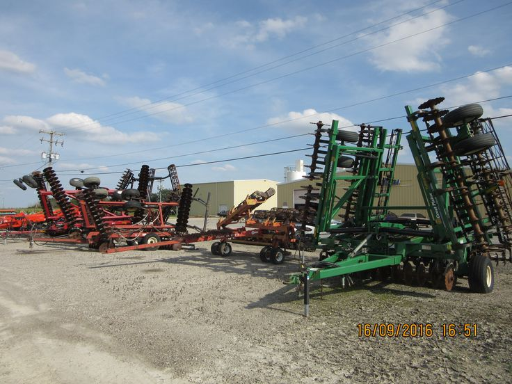Tlilage equipment line up in Napoleon r-l:Great Plains,Unverferth,International ,CaseiH,Krause Landsavers