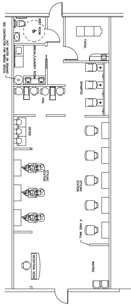 Beauty Salon Floor Plan Design Layout - 1400 Square Foot (maybe chop out all the hair stations though)