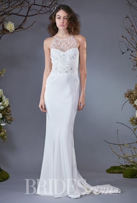 "Brides.com: Elizabeth Fillmore - Fall 2014. ""Anya"" backless silk crepe bias sheath wedding dress with branching flower beaded front bodice, Elizabeth Fillmore"