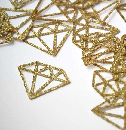 This gold confetti will add a special touch to your bachelorette party decor! This sparkle paper confetti is an intricate faceted diamond look.